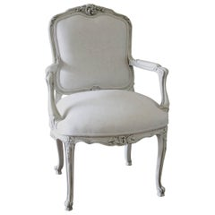 20th Century French Louis XV Style Armchair Upholstered in Belgian Linen