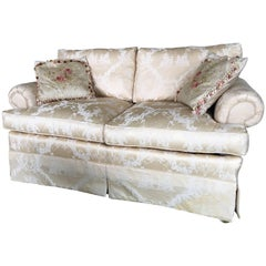 Upholstered Loveseat in a Beige Damask Silk Fabric, 20th Century