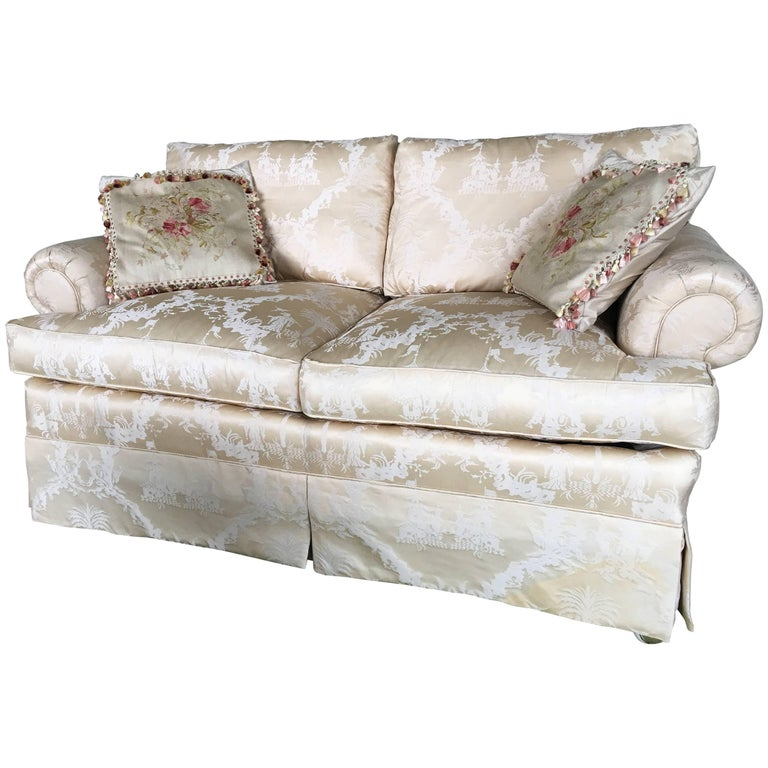 Upholstered Loveseat In A Beige Damask Silk Fabric 20th Century For