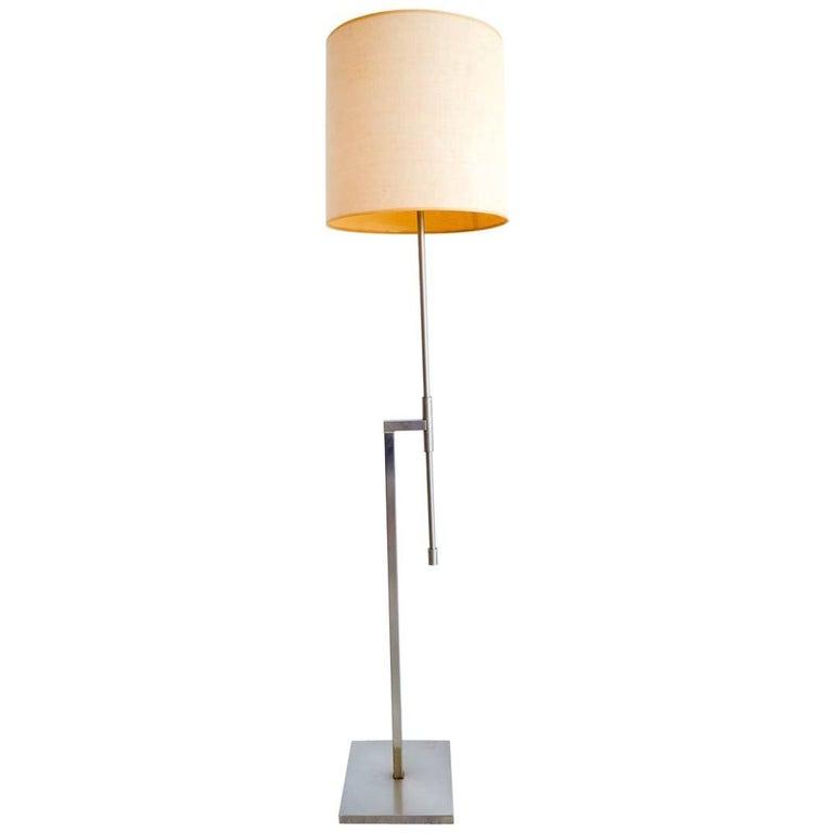 Brushed Nickel Adjustable Arm Floor Lamp by Laurel, circa 1968