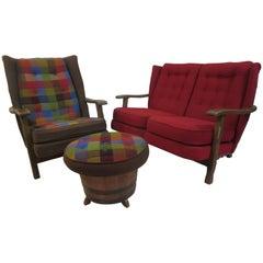 Whiskey Barrel Living Room Set in Oak
