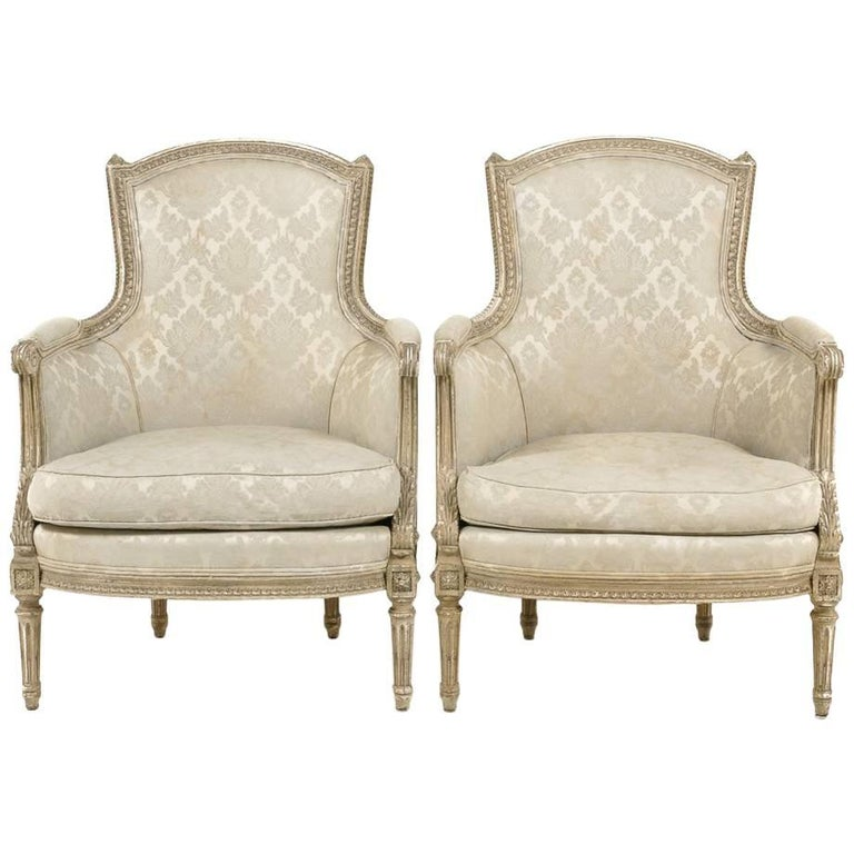 Pair of French Louis XVI Style Bergeres