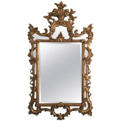 Gold Mirror with a Floral Basket at Top, 20th Century