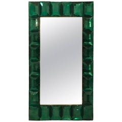 Large Emerald Green Murano Glass Mirror