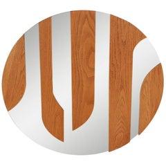 Large Midcentury Danish Modern Wood Circular or Round Wall Mirror or Sculpture