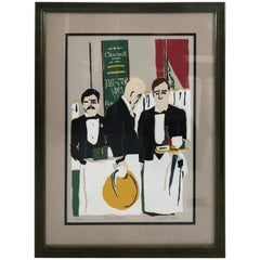 Striking Contemporary Signed and Numbered Lithograph of French Waiters