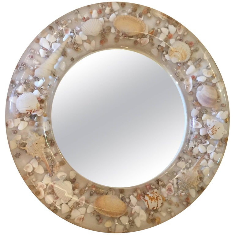 Lucite and Shell Midcentury Modern Round Mirror