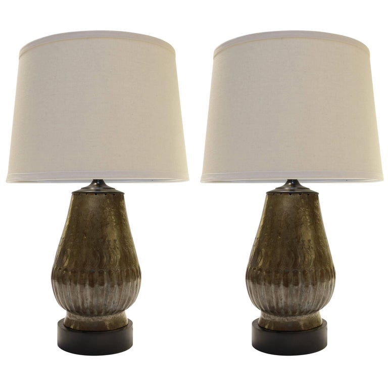 Tin Plated Copper Lamps with Etching, a Pair For Sale