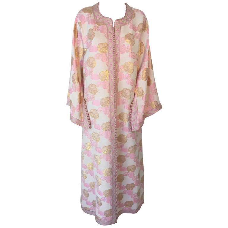 Moroccan Vintage Kaftan Embroidered Maxi Dress Brocade Caftan Pink and Gold