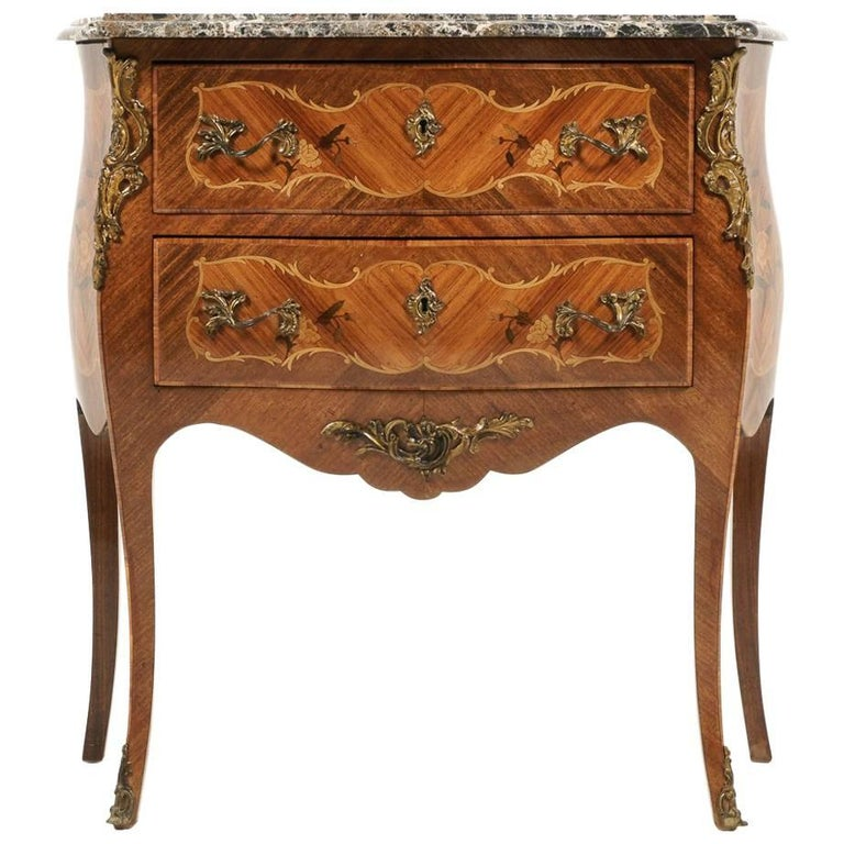 French Inlaid Bombe Commode