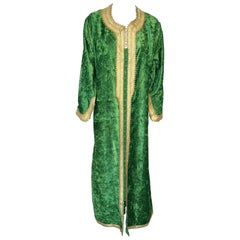 Moroccan Vintage Kaftan Jade Green Velvet and Gold Embroidered Caftan Circa 1970