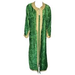 Moroccan Vintage Kaftan Jade Green Velvet and Gold Embroidered Caftan Circa 1970
