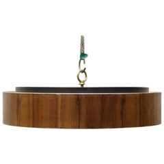 Round Flush Mount Light Fixture with Walnut Trim and Frosted Glass Diffuser
