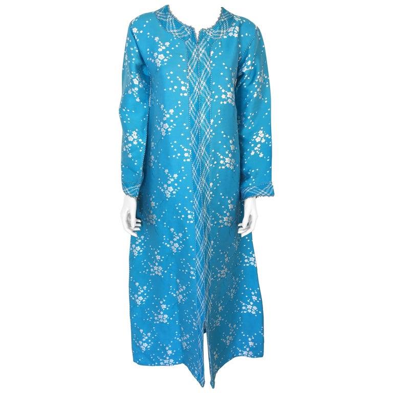 Vintage Moroccan Designer Kaftan Turquoise Maxi Dress Kaftan Small For Sale