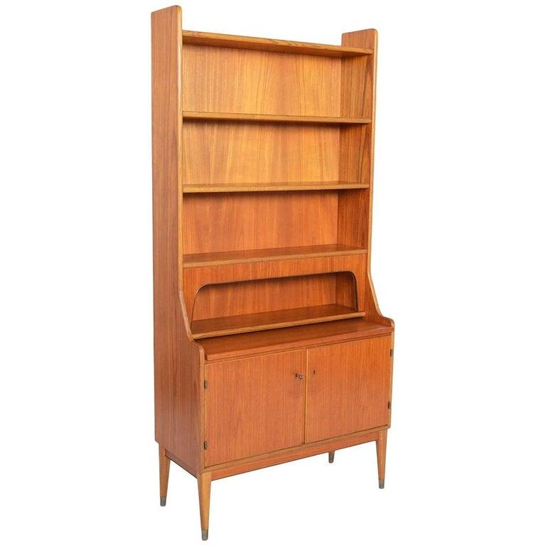 Danish Modern Teak and Oak Bookcase Secretary with Hidden Storage
