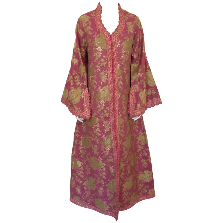 Moroccan Brocade Caftan, African Kaftan Embroidered in Gold and Pink Trim