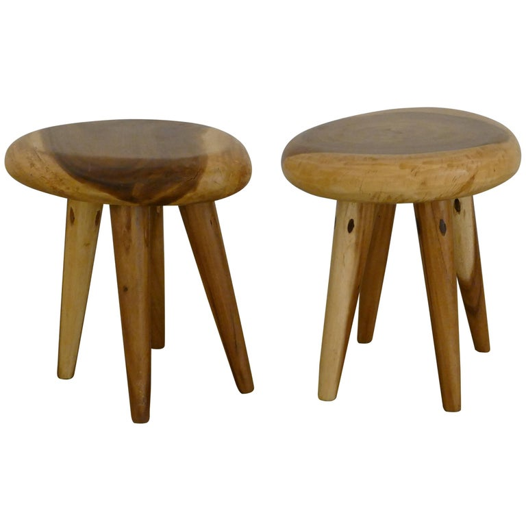 Pair of Side Tables in Acacia For Sale