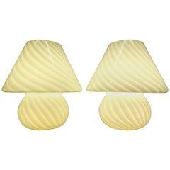 Pair of Vetri d'Arte Murano Italian Art Glass Mushroom Lamps