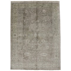 Contemporary New Shabby Chic Oushak Style Rug
