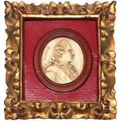 19th Century Carved Bone Portrait of Gustav III of Sweden