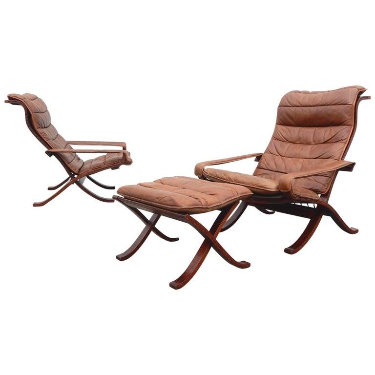 Ingmar Relling for Westnofa Siesta Safari Lounge Chairs Pair Plus Ottoman