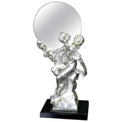 Art Nouveau Figural Silver Clad Table Mirror