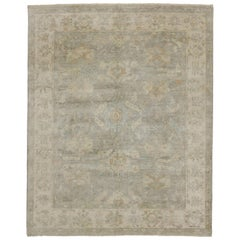 Transitional Area Rug with Oushak Design and Soft Colors