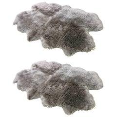 Pair of Custom Charcoal Sheepskin Rugs