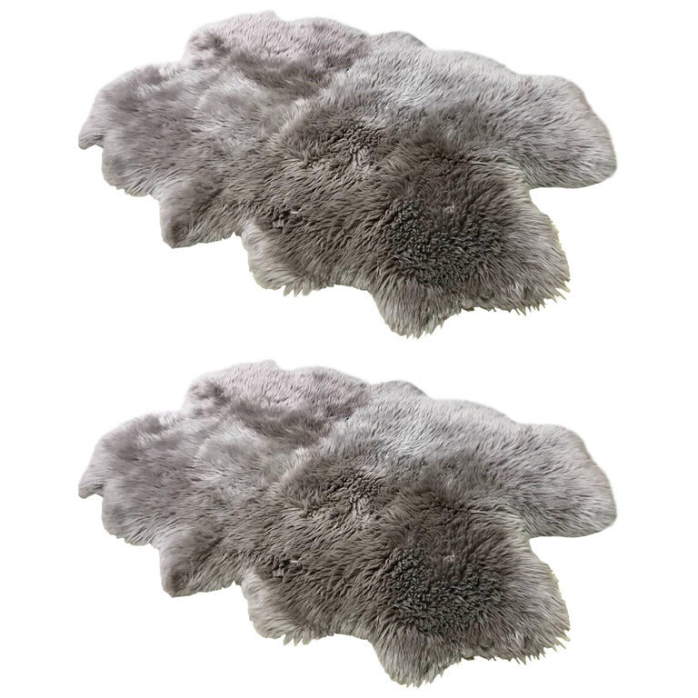 Pair of Custom Charcoal Sheepskin Rugs