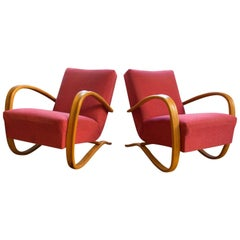 Pair of H-269 Armchairs Designed by Jindrich Halabala for UP Závody Brno