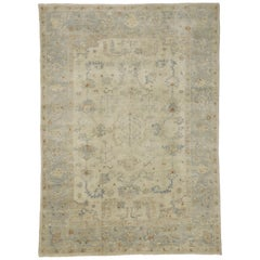 Contemporary Transitional Oushak Style Rug with Cool-Tone Neutral Colors