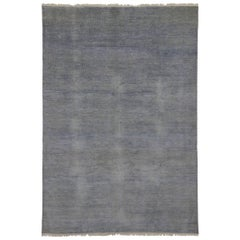 New Modern Transitional Grasscloth Area Rug, Light Gray and Light Blue Area Rug