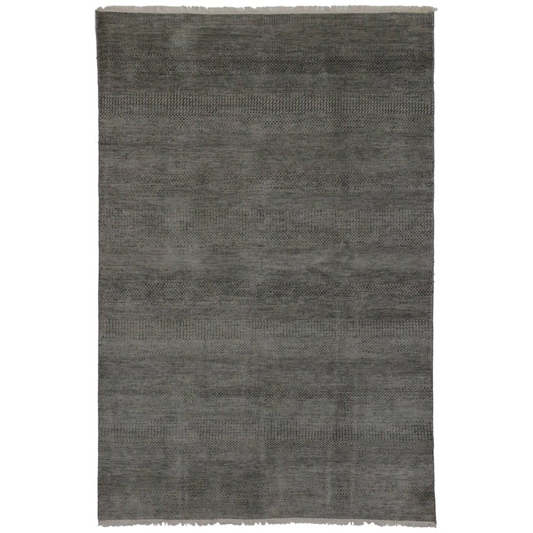New Transitional Grass Cloth Charcoal Gray Area Rug with Modern Style