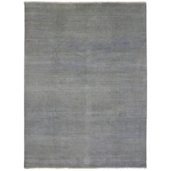 New Modern Transitional Gray Blue Area Rug With Minimalist Contemporary Style