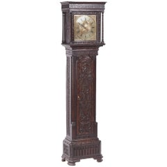 Outstanding Quality Carved Oak Brass Face Longcase Clock H Lough, Penirth