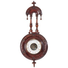 Small Antique Carved Walnut Barometer