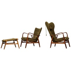 Ib Madsen & Acton Schubell Easy Chair with Stool by Madsen & Schubell in Denmark