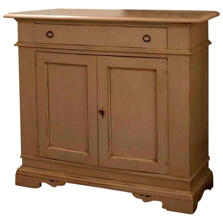 Italian Painted Walnut Wood White Cupboard or Sideboard