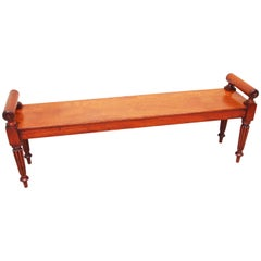 Antique Regency Large Mahogany Hall Bench