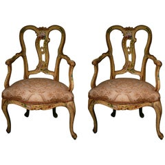 Authentic Pair of Louis XV Lacquered Armchairs, Venice