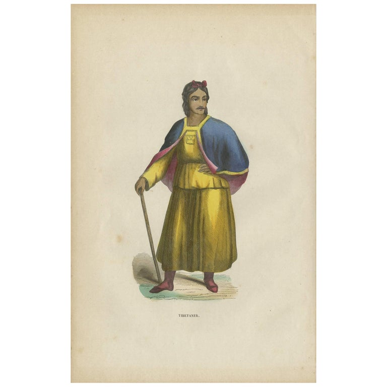 Antique Print of a Tibetan Man by H. Berghaus, 1855