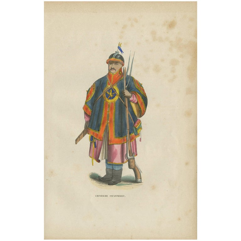 Antique Print of a Chinese Infantry Soldier by H. Berghaus, 1855