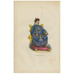 Antique Print of a Chinese Emperor by H. Berghaus, 1855