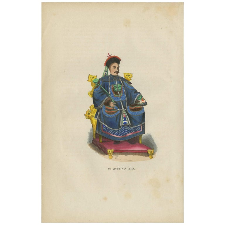 Antique Print of a Chinese Emperor by H. Berghaus, 1855 For Sale