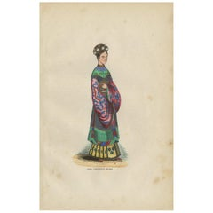 Antique Print of a Young Chinese Girl by H. Berghaus, 1855