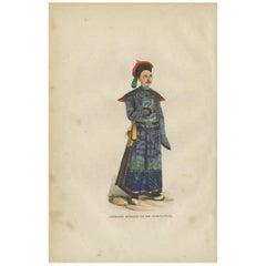 Antique Print of a Chinese Civil Servant 'Mandarin' by H. Berghaus, 1855