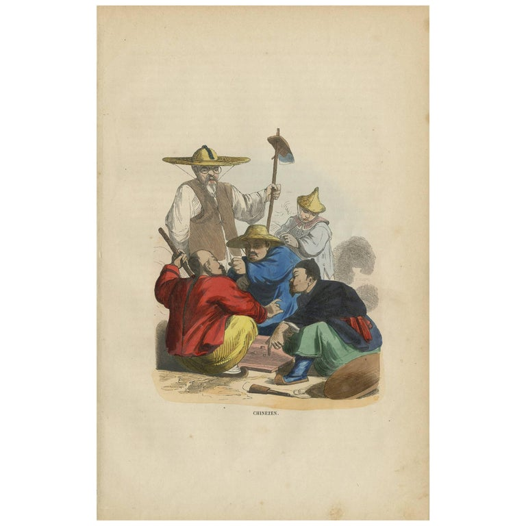 Antique Print of Chinese People Gambling by H. Berghaus, 1855