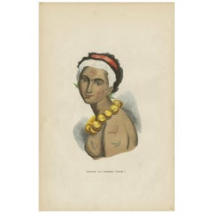 Antique Print of the Queen of Owyhee Island 'Hawaii' by H. Berghaus, 1855