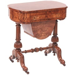 Outstanding Victorian Freestanding Inlaid Burr Walnut Writing or Sewing Table