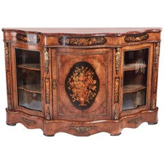Fantastic Quality Antique Victorian Burr Walnut Floral Marquetry Credenza